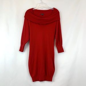 Express Wool Blend Off shoulder Sweater Dress